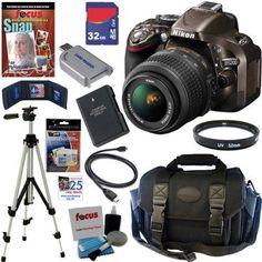Nikon - Bundle D5200 24.1 MP CMOS Digital SLR Camera (Bronze) - Larger Front