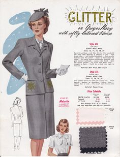 1940s grey wool suit skirt jacket with pocket glitter accent beaded sequins gold hat blouse bow color illustration print ad