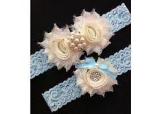 Blue Lace Garter - Blue Ivory Wedding Garter - TheWeddingMile.com
