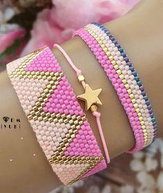 Proyectos miyuki Bead Loom Bracelets, Beaded Bracelet Patterns, Jewelry Patterns, Beaded Earrings, Seed Bead Jewelry, Diy Jewelry, Beaded Jewelry, Handmade Jewelry, Jewelry Making