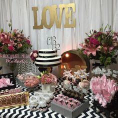 Meledu Ateliê - @cinthiabisel_meledu  Festa de adulto - Branco, preto, rosa e dourado.  Party white, black, pink and gold.