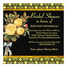 Tastefully Bridal Shower yellow Rose Custom Invitation Card Perfect for your unique and special Bridal Shower. Elegant bridal shower invitation for the stylish bride to be features. This black damasks card will make any Bridal Shower the best ever to remember, with the yellow background on this black and yellow invitation. With a golden ribbon at the bottom and a cute bouquet of yellow roses with the Bridal Shower information beside it. The invitation has a gold ribbon and a black background…