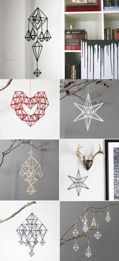 DIY Unique Hanging Decorations from Straws. So basically a Finnish himmeli. Diy Craft Projects, Straw Projects, Diy And Crafts, Arts And Crafts, Diy Crafts With Straws, Straw Decorations, Hanging Decorations, Plastic Straw Crafts, Diy Straw Crafts