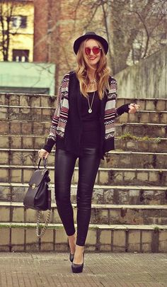 Shop this look on Kaleidoscope (sweater, hat, pants, pumps, purse)  http://kalei.do/WjZ2m0YNChdWzZpr