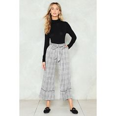 3c8ecc58e54 Nasty Gal Give Us One Check Wide-Leg Pants ( 60) ❤ liked on Polyvore  featuring pants