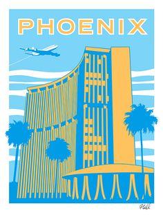 Phoenix Travel Poster print by JasonHillDesign on Etsy