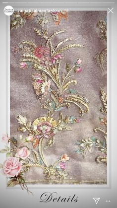 Zardozi Embroidery, Hand Embroidery Dress, Bead Embroidery Patterns, Embroidery On Clothes, Embroidery Works, Embroidery Fashion, Silk Ribbon Embroidery, Hand Embroidery Designs, Beaded Embroidery