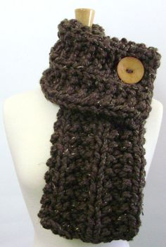 Barley Brown Chunky Knit Cowl Scarf with Tan Button by LaurasLovelyKnits, $39.00