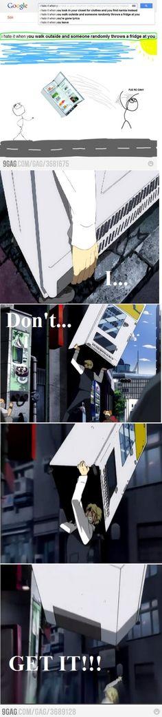 I Hate It When You Walk Outside and Someone Randomly Throws a Fridge At You | Durarara's Heiwajima Shizuo