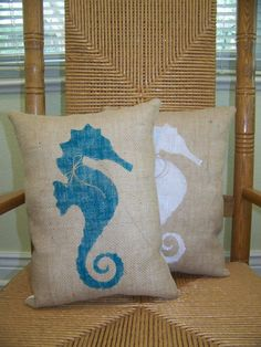 seahorse pillow beach pillow nautical pillow burlap pillow seahorse stenciled pillow sea life pillow