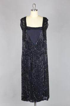 1920s Dress Hematite Bead Swirl Silk Chiffon Evening Ensemble, Front