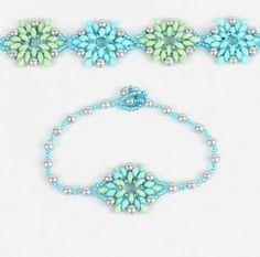 Mint and Ice Lotus Flower Bracelet Take a Make Break Kit Seed Bead Jewelry, Bead Jewellery, Beaded Jewelry, Beaded Bracelets, Jewlery, Handmade Jewelry, Bracelet Patterns, Bracelet Designs, Bead Patterns