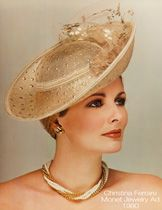 Cristina Ferrare wearing custom Eric Javits in a Monet Jewelry ad from 1980.