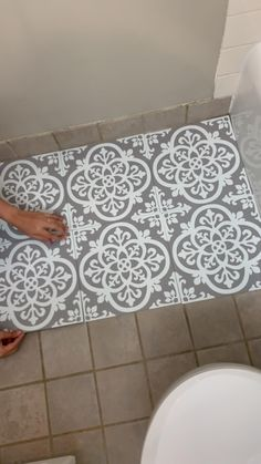 Painting Bathroom Tiles, Small Bathroom Decor, Small Bathroom Makeover, Flooring, Bathroom Makeover, Diy Bathroom Makeover, Floor Makeover, Stenciled Floor, Bathroom Interior Design