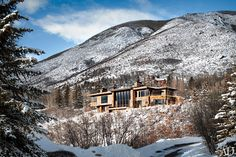 By Architectural Digest.  Perched high on the region's Red Mountain a house designed by Studio Sofield in collaboration with Studio B Architects features a stone-and-mahogany exterior with Tischler und Sohn windows affording expansive views.