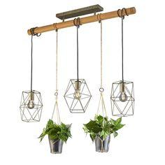 Lampa wisząca Plant, 3-pkt. z szybkami ozdobnymi Sisal, Wardrobe Rack, Chandelier, Ceiling Lights, Lighting, Antiques, Glass, Design, Lights