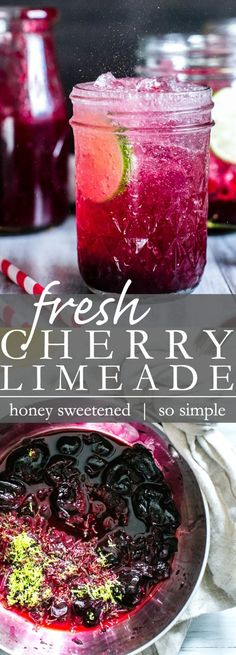 Make a big batch or single serve, this Honey Sweetened Fresh Cherry Limeade is refined sugar free, zesty and SO refreshing! Fruit Drinks, Non Alcoholic Drinks, Cold Drinks, Cocktails, Drinks Alcohol, Alcohol Recipes, Cherry Drink, Fresh Cherry, Veggie Wraps