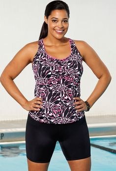 a4d686f7f139c Aquabelle Crackle Plus Size Racerback Bike Shortini Swimsuits For All