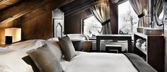 Chalet des Fermes in Megeve sleeps 10 guests in fabulous luxury. The chalet is refined and sophisticated with rich decoration. Chalet Chic, Chalet Style, Ski Chalet, Chalet Design, House Design, Location Chalet, Chalet Interior, Suites, Luxury Living