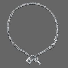 Sterling Silver Anklet Ankle Bracelet with Lock & Key Charms from Berricle - Price: $48.99