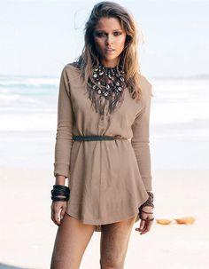 O-neck Long Sleeve Button Mini Dress