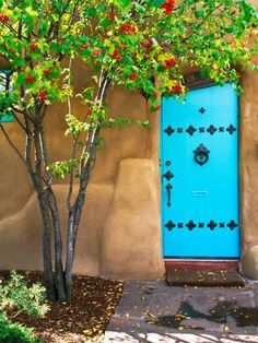 Photographic Print: Turquoise Door, Santa Fe, New Mexico Poster by Tom Haseltine : 24x18in