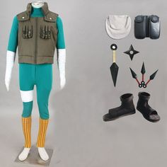 Relaxcos Naruto Rock Lee Outfits Shoes Kunai Halloween Size XL -- You can get more details by clicking on the image.