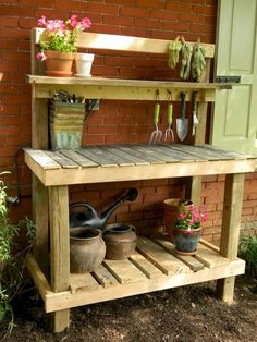 Scrap wood potting bench I made while my toddler was napping. Scrap wood potting bench I made while my toddler was napping. The post Scrap wood potting bench I made while my toddler was napping. appeared first on Garden Diy. Garden Bench Table, Outdoor Potting Bench, Pallet Potting Bench, Pallet Garden Benches, Potting Tables, Pallet Work Bench, Pallet Gardening, Garden Work Benches, Outdoor Plant Table