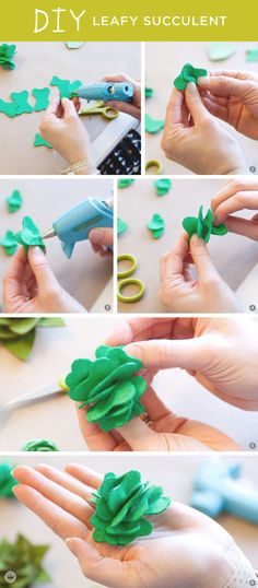 Create these miniature no-sew DIY leafy succulents from felt sheets and a bit of hot glue. Then check out this tutorial for a gorgeous yarn-wrapped succulent wreath to hang on your front door this summer. Such a fun and easy decor idea! Felt Flowers, Diy Flowers, Fabric Flowers, Paper Flowers, Felt Wreath, Wreath Crafts, Flower Crafts, Wreath Ideas, Felt Diy