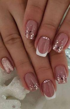 nail art designs with glitter & nail art designs ; nail art designs for spring ; nail art designs for winter ; nail art designs with glitter ; nail art designs with rhinestones Nail Design Glitter, Glitter Nail Art, Cute Acrylic Nails, Cute Nails, Glitter French Nails, Rose Gold Nails, Shellac French Manicure, Nail Tip Art, Nail Art Rose
