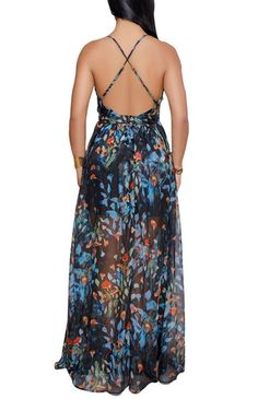 252c8ffe0dc Remelon Women s Sexy Spaghetti Strap Deep V Neck Floral Boho Criss Cross  Backless Chiffon Beach Party Long Maxi Dress. Chiffon. Buy Now from Amazon