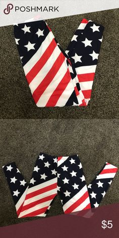 USA Spandex Leggings American flag Spandex with Stars and Stripes. Bought for July 4th but never worn! Red, white and navy. Pants Leggings