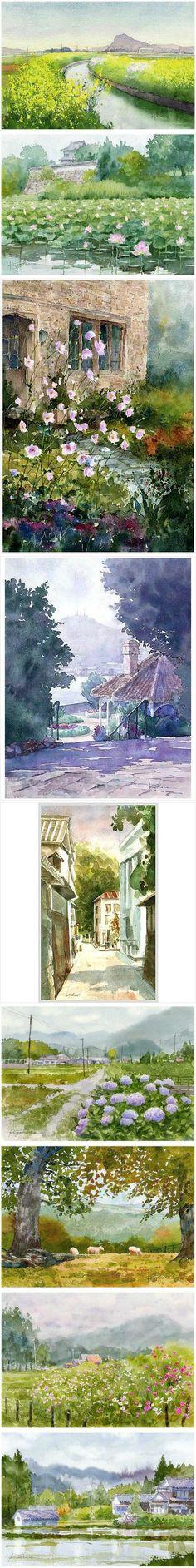 Watercolor Landscape Painting - Artist from Fukuoka, Japan, the Ballad Kawasaki Kiyoharu