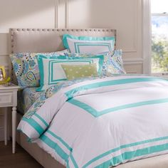 These are fun colors that lead to endless options of combinations, colors, and much more! LOVE this bedding! From Pottery Barn Teen.