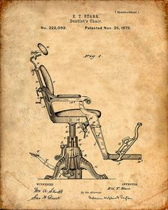 Dentist's Chair Patent Print From 1879 - Patent Art Print - Patent Poster…