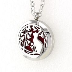 Christmas Cat 30MM Aroma Locket Necklace Pendant 316L Stainless Steel Essential Oil Diffuser Locket Pendant With Free Pad #Affiliate