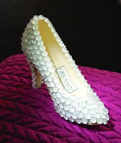Cinderella chocolate shoe with edible diamonds