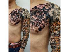 Japanese tattoo on man's half chest and full sleeve with tiger, flowers and oni mask symbols