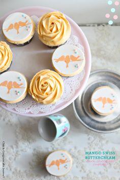 Mango Swiss Buttercream + Dark Chocolate Cupcake by Chic & Gorgeous Treats Mango Cupcakes, Yummy Cupcakes, Fruit Cupcakes, Dark Chocolate Cupcakes, Chocolate Crunch, Swiss Chocolate, Cupcake Frosting Recipes, Cupcake Flavors, Opening A Bakery