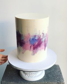 "Don't Tell Charles on Instagram: ""Watercolour on a whopping 7"" skyscraper. Vanilla bean cake with white chocolate ganache and fresh raspberries inside.  - #donttellcharles…"""