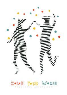 giclee print color your world zebra by Redcheeksfactory. Seen on HappyMakersBlog.com #PapierAtelier