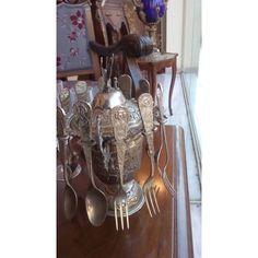 Σετ για γλυκό του κουταλιού με 12 επάργυρα κουταλάκια και 600αρι ασήμι κορμό, με υπέροχα ανάγλυφα σχέδια κατασκευασμένο στο χέρι το 1930 1930, Antique Silver, Silver Plate, Plating, Antiques, Home Decor, Antiquities, Antique, Decoration Home