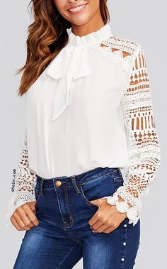 Geo Lace Sleeve Frilled Tie Neck Blouse