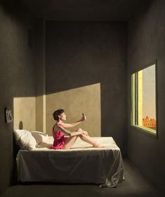 eugeniorecuenco_oficial via Tag to get feature Edouard Hopper, Erwin Olaf, Stencil Printing, Presentation Video, Creative Portraits, Surreal Art, Pictures To Paint, Surrealism, The Dreamers
