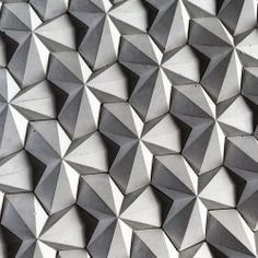 Origami paper tesselation inspiration, great idea for modular wall surface modul tile with polygonal pattern nexttoparchitects: by My origami inspired concrete tile which I designed and made WHPgeometry 3d Pattern, Tile Patterns, Textures Patterns, Pattern Design, Concrete Tiles, Concrete Design, Tile Design, Concrete Blocks, 3d Texture