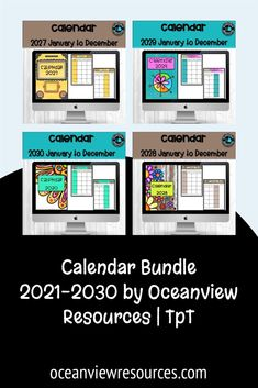 These Calendars  are included in my Teacher Planner Binder, but I have been asked to offer them as individual items. No teacher planner is complete without a fantastic calendar, but teachers need more! Teachers have to be organized and great with time management. This set will take you to 2030!!!