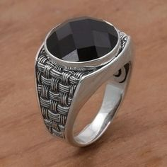 Men's onyx cocktail ring, 'Bold and Dark' - Onyx and 925 Sterling Silver Cocktail Ring from Bali Mens Gemstone Rings, Mens Silver Rings, Sterling Silver Rings, Cool Rings For Men, Best Friend Jewelry, Ring Watch, Cocktail Rings, Bracelets For Men, Ring Designs