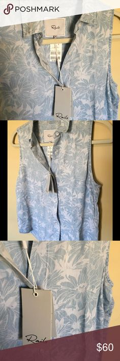 Rails Chambray Floral Tank Sleeveless NWT Rails Chambray Floral Tank Sleeveless button down. NWT Rails Tops Button Down Shirts