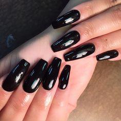 """Black gel polish check out them cuticles"""