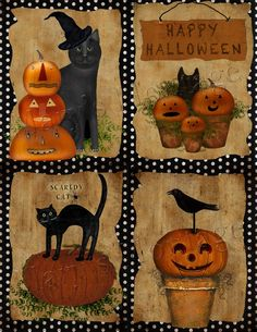 create Halloween cards with this set of four of my digital collages. Personal & commercial use. What youll get : Large DPI ) Halloween Painting, Halloween Prints, Halloween Pictures, Halloween Cat, Holidays Halloween, Halloween Pumpkins, Happy Halloween, Halloween Decorations, Halloween Witches